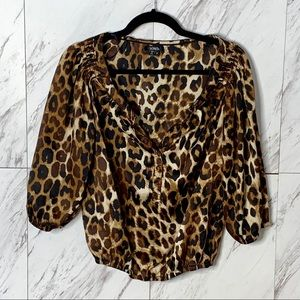4/$30 XOXO Leopard Cheetah 3/4 Sleeve Blouse SZ S